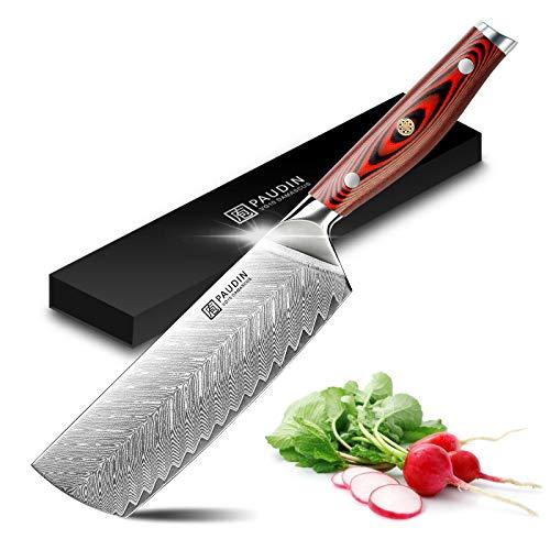 PAUDIN Damascus Nakiri Knife - 7 Inch Ultra Sharp VG10 Vegetable Knife, Beautiful Plume Pattern Kitchen Knife with Ergonomic G10 Handle, Superb Edge Retention