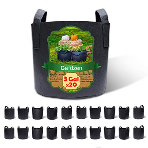Gardzen 20-Pack 3 Gallon Grow Bags, Aeration Fabric Pots with Handles,...