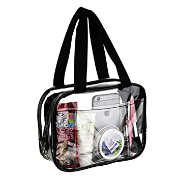 Small Clear Handbag Purse Great for Work Events Makeup Cosmetics Stadium Approved Sturdy Transparent Pocketbook Carry Bag