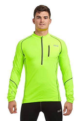 time to run Langarm-Thermoshirt Banff, Quick Dry Funktionsshirt Oberteil für Herren mit Reißverschluss am Ausschnitt M Lindgrün