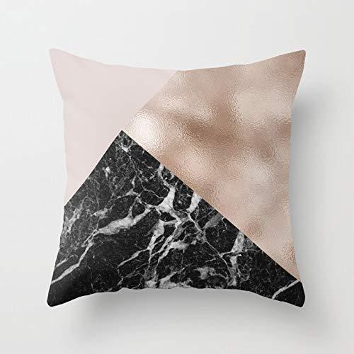 PPMP Funda de Almohada de Oro Rosa con Forma de corazón de piña, Funda de cojín geométrica para el hogar, Funda de Almohada para sofá, Funda de cojín A13, 45x45cm, 2pcs
