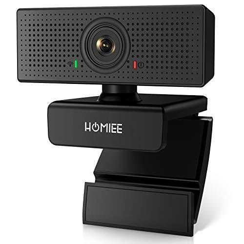 HOMIEE Webcam 1080p HD con Microfono Stereo, Messa a Fuoco Automatica, Girevole a 360° per Video Chat e Registrazione, Conferenza, Gioca a Giochi e Lavoro a Casa, Compatibile Linux, Windows e Android