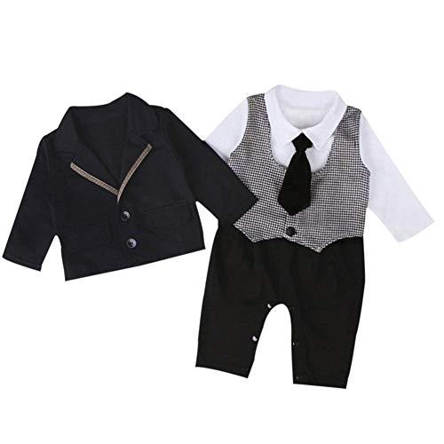 Taoytou 2pcs Baby Gentleman Set Vêtements Baby Barboteuses Casual Coat Tenues (6-12 M)