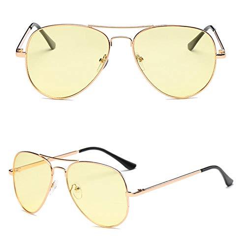 DLSM Gafas de Sol clásicas Mujeres Metal Marco Transparente Océano Película Sol Villa Vintage Reflexivo Espejo Al Aire Libre Gafas de Sol Hombres-Amarillo Oro