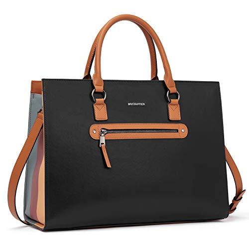 BOSTANTEN Leder Aktentasche für Damen 15.6 Zoll Laptop-Schultertaschen Frauen Handtaschen Businesstasche Vintage Umhängetasche Schwarz