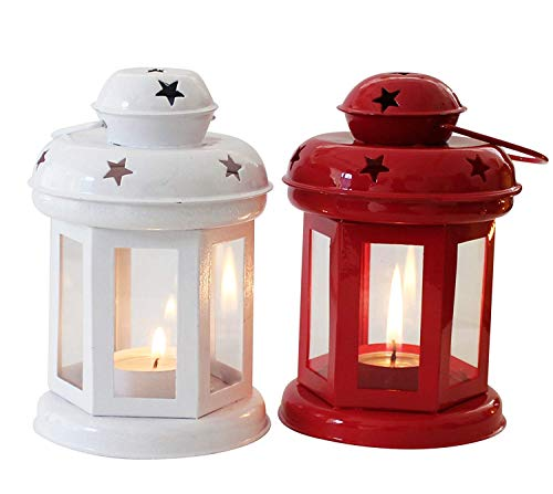 NOBILITY Set of 2 White and Red Lantern TeaLight Candle Holder with Tea Light Candle for Wall Hanging Living Room Table Home Decor Indoor Outdoor Decorations