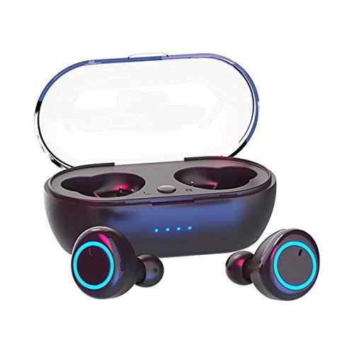 GKJ Mini Auriculares Bluetooth, Auriculares Y50 Auriculares Estéreo TWS Bluetooth 5.0 Control de Botón In-Ear Inalámbrico Auriculares Deportivos con Cancelación de Ruido con Estuche de Carga,Negro