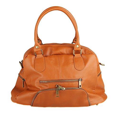 Chicca Borse Handbag Borsa a Mano da Donna con Tracolla in Vera Pelle Made in Italy 47x29x21 Cm