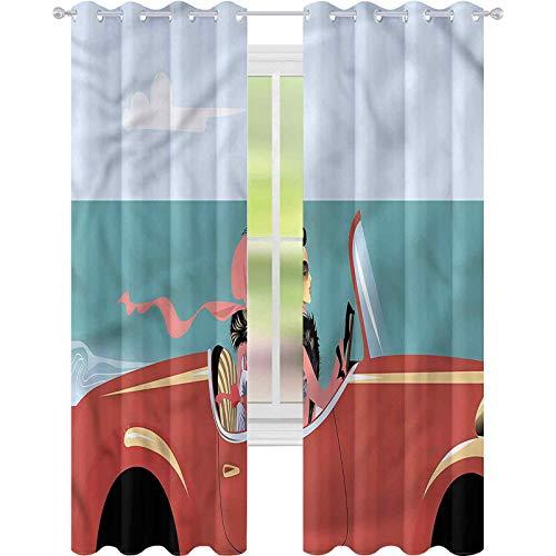 Cortina de ventana para coche, diseño retro de coche, W52 x L72