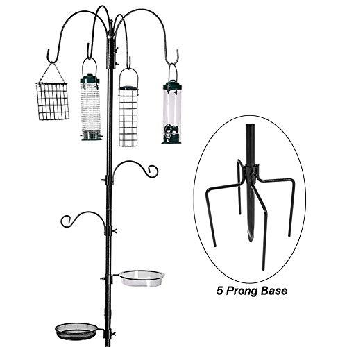 ERYTLLY Bird Feeding Station Kit Multi Feeder Hanging Kit Premium Bird Bath for Attracting Wild Birds Birdfeeder & Planter Hanger (Black Bird Feeding Station Kit)