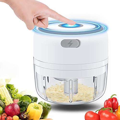Electric Garlic Chopper 100ML BYXAS USB Rechargeable Powerful Mincer Portable Slicer Household Grinder for Fruits Onion Grinder Meat and Salad  White