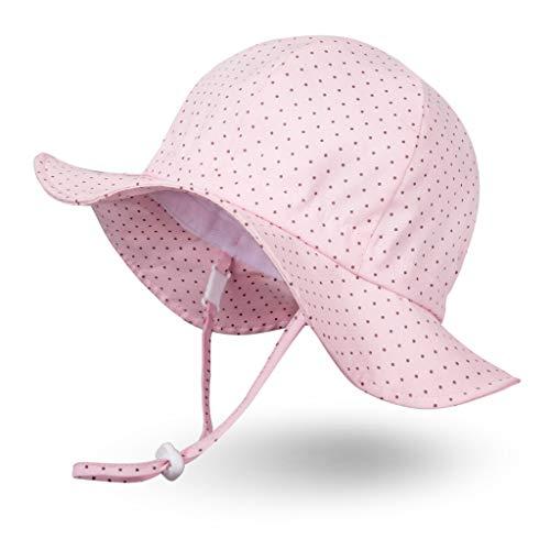 Ami&Li tots Mädchen Sonnenhut Verstellbarer Hut mit breiter Krempe Sonnenschutz UPF 50 für Baby Mädchen Jungen Säugling Kind Kleinkind Unisex – M: Rosa Tupfen