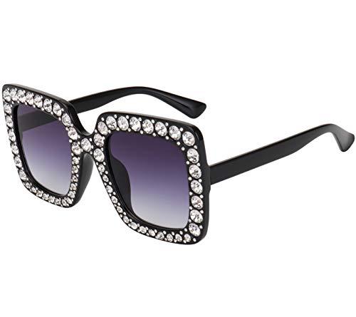 sunglasses brands ROYAL GIRL Elton Square Rhinestone Sunglasses Oversized Diamond Bling Bling Glasses