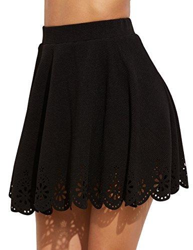 SheIn Women's Basic Solid Cutout Scallop Hem Flared Mini Skater Skirt Medium Black