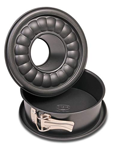 Dr. Oetker Tartas Redondo Antiadherente Rosco Desmontable Doble Base/Molde 18cm, Color Negro, 1ud, Acero con Revestimiento Especial, 18 cm