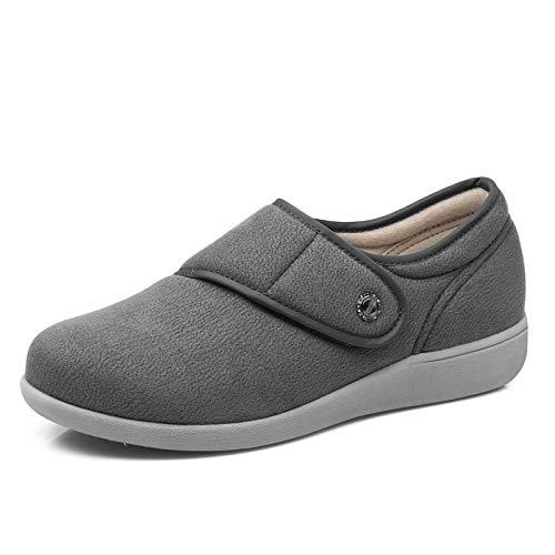 Echte brededamesschoen voor dames, wandelschoenen van middelbare leeftijd, met klittenband verstelbare moederschoenen-grey_UK4.5, ouderengezwollen voeten Diabetes