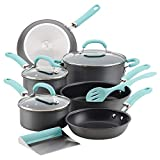 Rachael Ray 11-Piece Hard Anodized Aluminum Cookware Set, Gray with Light Blue Handles (Kitchen)