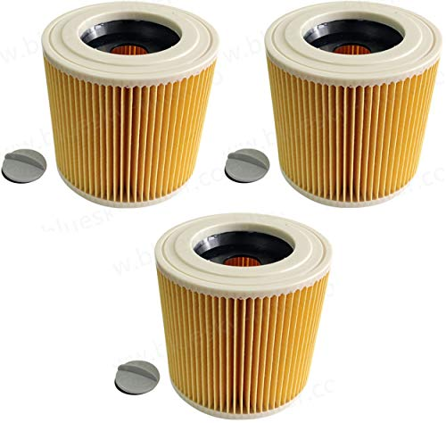 3 filtros de cartucho de filtro para aspiradora Kärcher WD3 Premium WD2 WD3 WD 3 MV3 WD 3 P Extension Kit sustituye 6.414-552.0, 6.414-772.0, 6.414-547.0