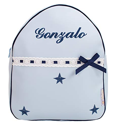 Der Rucksack, der Schulrazen, der Schultasche oder Kindergartentasche mit der Name personalisiert. Der Modell: Sydney. Verfügbar mehrere Farbene (Hellblau/Dunkelblau)