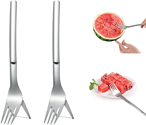 Duyifan 2 PCS Watermelon Cutter Fork Stainless Steel Cutter, 2-in-1 Watermelon Fork Slicer, Carving And Cutting Utility Knife for Home Fruit Party (Silver)