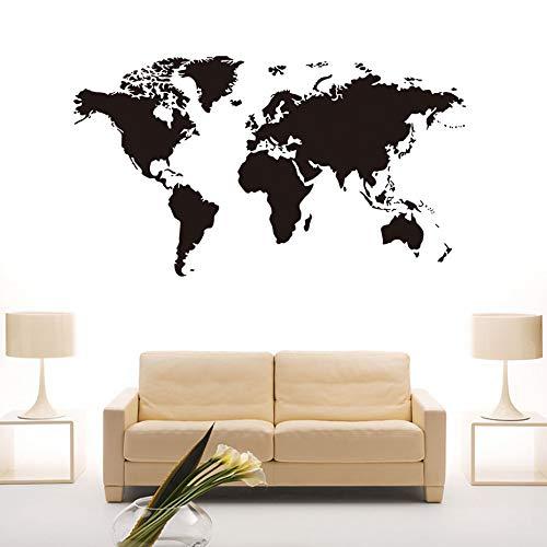 BeyondTreasure Weltkarten Wandtattoo Erde Welt Globus | Schwarz in verschiedenen Größen | Schlafzimmer Wohnzimmer Schrank Wandsticker Wandaufkleber (59 x 104)