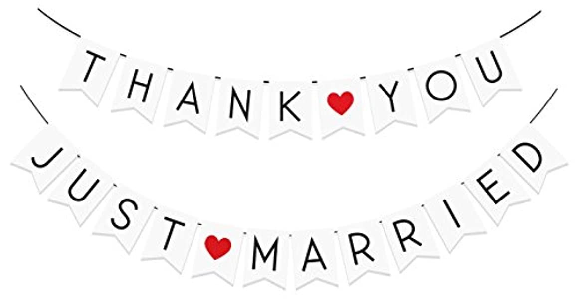 """2 Pack - """"Just Married"""" & """"Thank You"""" Banner Pack - Wedding Decorations for Reception, Bridal Shower and Engagement Photos – Wedding Signs Garlands and Bunting Banners"""