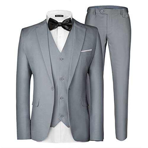 Ohbiger Men's 3-Piece One Buttons Slim Fit Solid Color Jacket Smart Wedding Formal Suit