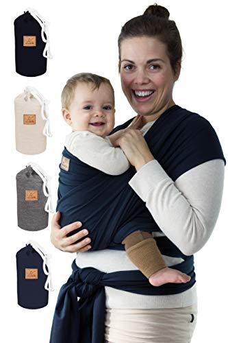 SOVERDE® Tragetuch - Babytragetuch für jede Größe I DUNKELBLAU I Inkl. Deutsche Binde Anleitung I Baby Erstausstattung