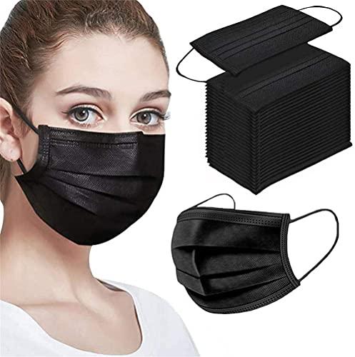 Black Disposable Face Masks 100PCS Adults Breathable Face Mask for Men & Women