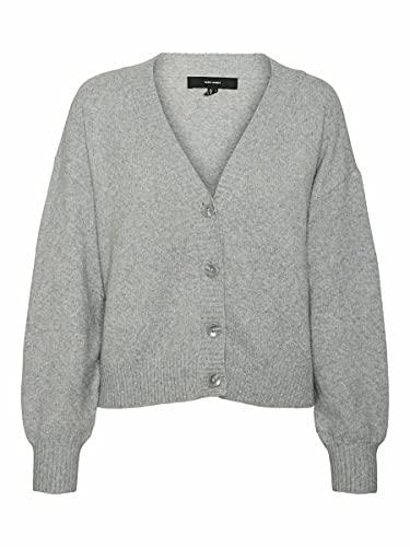VERO MODA Damen VMDOFFY LS V-Neck Button Cardigan LCS Strickjacke, Light Grey Melange, XS