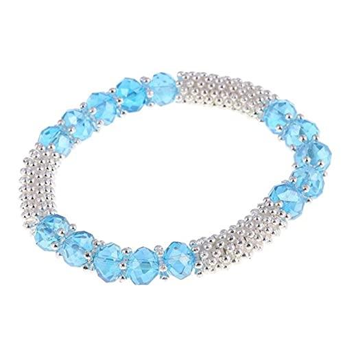 CXWK Pulseras de Cuentas de Cristal elástico Amor corazón Colgante Pulseras con dijes brazaletes Moda Mujer joyería Gema Piedra
