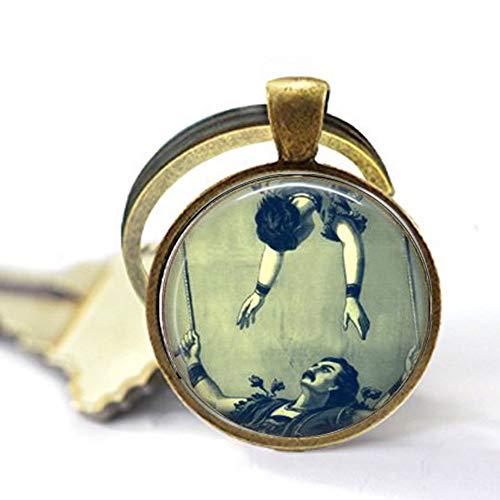 bab Halskette mit Anhänger, Motiv Fliegender Trapezmond, Zirkusschmuck, Acrobats-Gymnast ohne Netz, viktorianischer Zirkus, Vintage-Acrobat-Circus Act, Bibelz-Anhänger, Schmuck