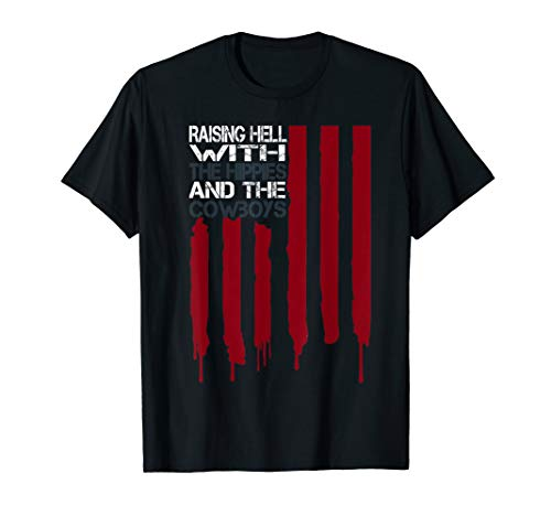 Raising Hell With The Hippies And Cowboys American Flag Tee T-Shirt