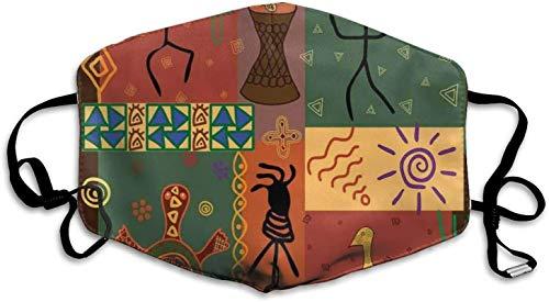 Komfortable, winddichte Maske, flippiges Tribal-Muster zeigt afrikanischen Stil, tanzbewegliche Instrumente, spirituell, bedruckte Gesichtsdekorationen für Damen und Herren