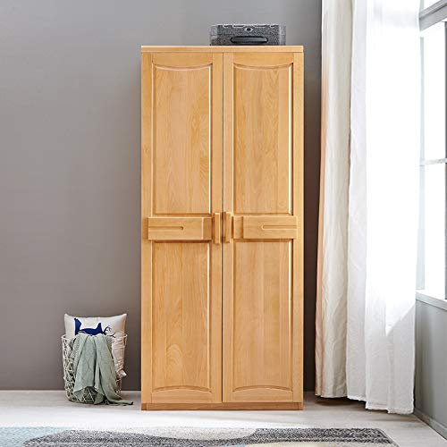 Read About Re Solid Wood Wardrobe Two Doors Modern Minimalist Bedroom Cabinet Assembly Open Door War...