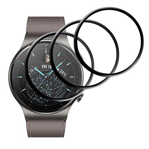 GEEMEE Schutzfolie Bildschirmschutzfolie für Huawei Watch GT2 Pro,【3 Stück】 HD TPU-Materia Weich Folie Anti-Bubble Einfache InstallationNass angewendet Schutzfolie für Huawei Watch GT 2 Pro