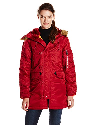 ALPHA INDUSTRIES Damen Womens N-3B Thigh Length Zip Parka, Commander Red, Mittel