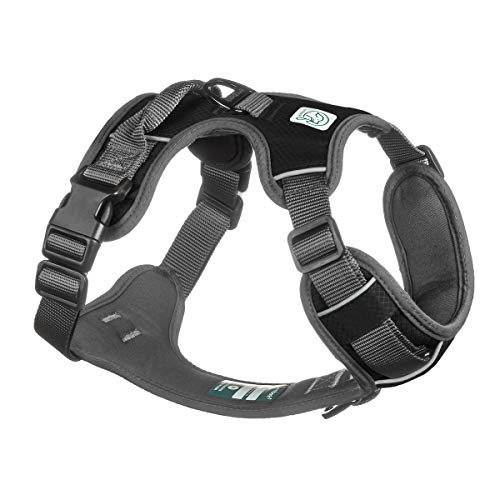 Embark Adventure Dog Harness Medium Size, Easy On and Off with Front and Back Leash Attachment Points & Control Handle - No Pull Training, Size Adjustable and No Choke (Medium - Black)