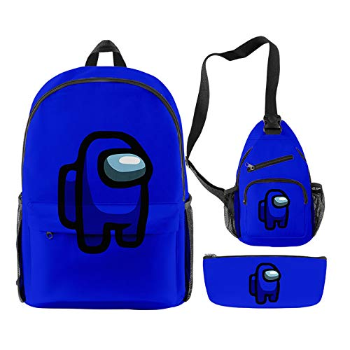 EGCLJ 3 Pcs/Set Game Backpack Messenger Bag With Pencil Case Kids School Bags Student Bookbag For Girls Teens Game Fans Gifts (Color : Blue)