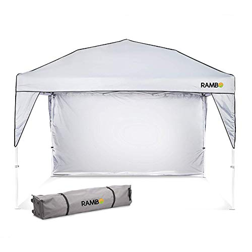 Pop Up Canopy Tent : Heavy Duty 10' x 10' Outdoor Canopy for Camping, Parties and Beach - Waterproof and Flame Resistant, Ideal Camping Tent for the Outdoors | Includes Sun Wall & Wheeled Carry Bag