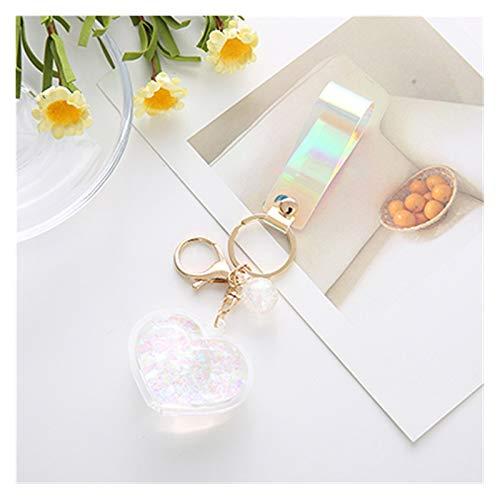Dpsyszd Keychain Creative Acrylic Into Quicksand Oil Bottle Love Heart Key chain Flash Peach for Women Car Keychain Bag Pendant (Color : White)