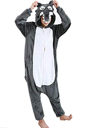 Pijamas Disfraces Onesie Animal Adultos kigurumi Carnaval Halloween o Fiesta Espectculo Navideo Mono Cosplay Ropa Interior de Zoolgico Invierno Unisex Mujeres y Hombres - M - Lupo