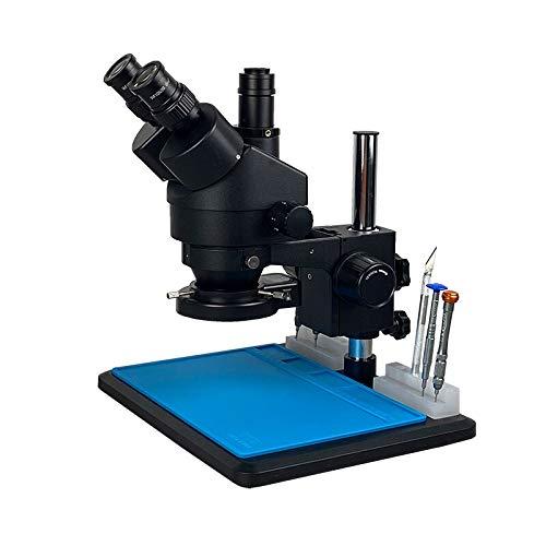 LIXUDECO Microscopio 7-45X 3.5x-90x Microscopio de Zoom estéreo trinocular Soldadura de la Mesa Grande con 0.5X 2.0X Herramientas de reparación de Lentes objetivas (Color : 7 45X BK)