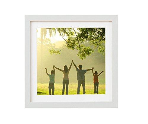 Holz - Rahmen für Bilder quadratisch 15x15 20x20 25x25 30x30 40x40 50x50 mit weißem Passepartout Rahmen zum Aufhängen Farbe Weiß - Format 40x40