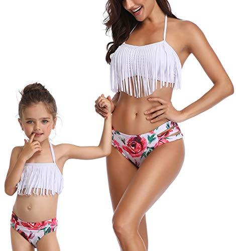 Dilicwa Madre e Hija Bikinis Traje de baño Padre-Hijo Bikini Traje de Baño, Mamá Niña Bañadores de Mujer de Verano Playa. (M, Blanco-mujer2)