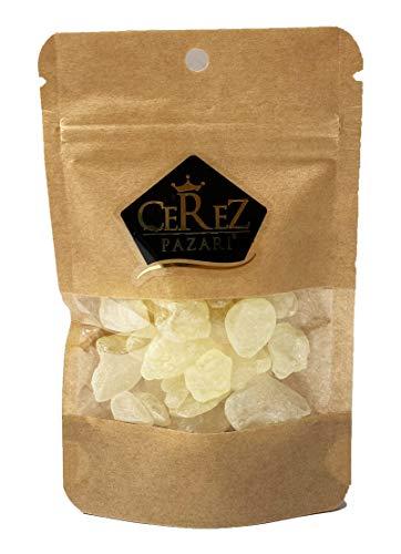 Cerez Pazari Natural Greek Mastic Gum, 100% Real Chios Mastiha Gum, Resin Of Mastiha Trees in Resealable Bag 0.88oz 25gr | Medium Tears, Gluten Free, Non-GMO, Vegan