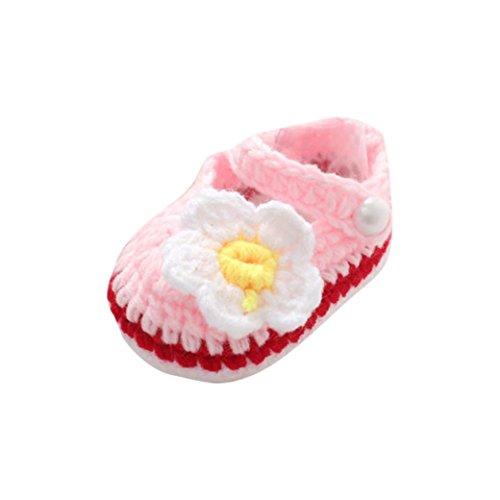 Zapatos Bebé niña Primeros Pasos Zapatos Rosas de Verano para bebés Cuna Crochet Calcetín de...