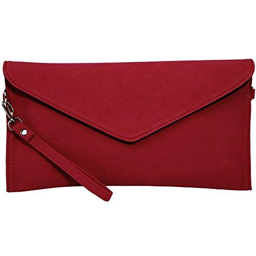 Kormei, borsa donna in pelle di camoscio, busta, pochette, borsetta da festa, Rosso (Rot), Small