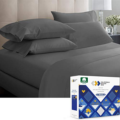 California Design Den Luxury Sheets 1000 Thread Count, 100% Cotton Sheets, Very Smooth Soft & Thick with Deep Pockets, Best Wrinkle Free King Sheets 4 Pc Set (Dark Gray)