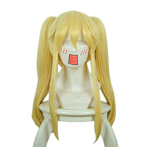 Xingwang Queen Anime Long Straight Blonde Yellow Cosplay Wig Clip on Two Ponytails Women Girls' Party Wigs